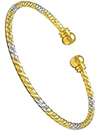 BFC-Dual Tone Gold And Silver Shade Thin Bangle Single Cuff Kada/Bracelet, For Women And Girls(Adjustable)