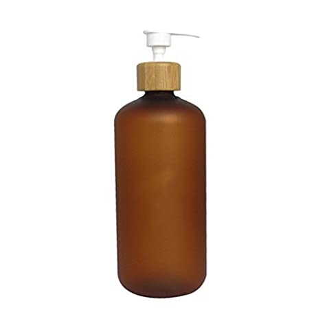 500ml Bamboo Cap Amber Frosted Plastic Lotion Cream Pump Bottle Shampoo Body Wash Empty Container by Upstore