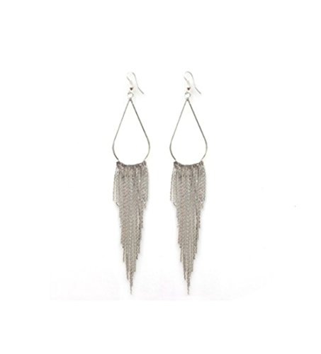 TININNA Retro Vintage Damen Frauen Lang Metall Troddel Quaste Ohrring Ohrhänger Ohrhaken Ohrgehänge Ohrschmuck silber Metall-ohrhaken