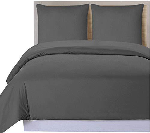 Utopia Bedding Parure de Lit en Microfibre - Housse de Couette avec Taies Oreiller - (Gris, 240 x 260 cm)