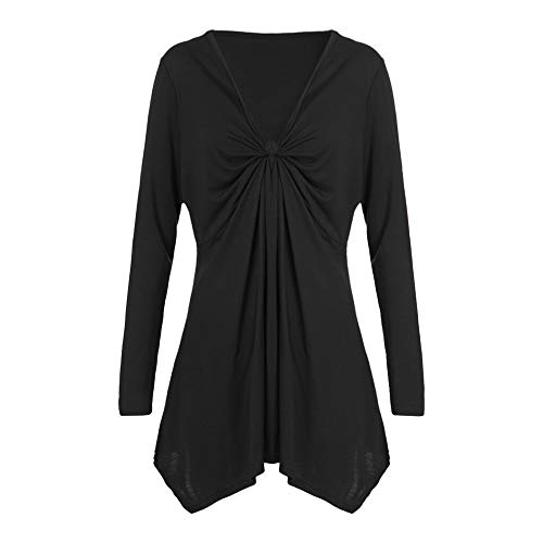 Clearence!!!Sonnena Women Autumn Casual Shirt Solid deep V-Neck Plus Size Loose Pleated Irregular Cotton Long Sleeve Blouse Tops