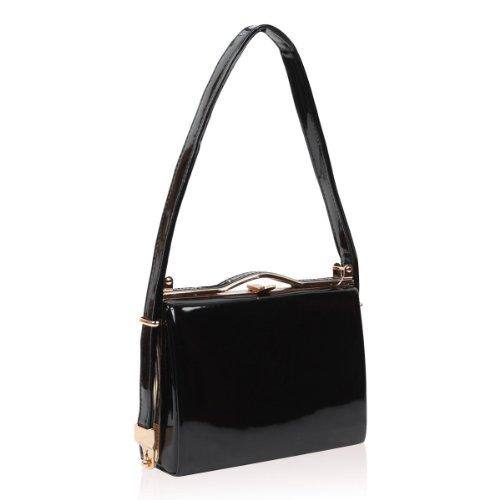xardi London Nuovo brevetto medio donne sacchetti di sera Prom–Sella tracolla frizione borse Black