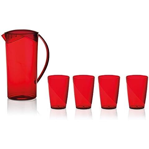 Ou Premium Design- Pitcher Kit + 4 Glasses- Red by Ou Premium Design