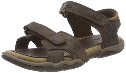 Timberland Unisex-Kinder Oak Bluffs Leather 2Strap Sandalen, dunkel Braun, 32 EU