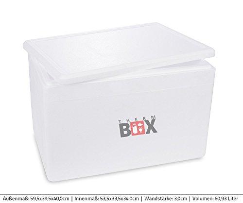Preisvergleich Produktbild Profibox XXL 59,5x39,5x40,0cm, Wand: 3,0cm, V=60,93 Liter, Styroporbox Weiß Isolierbox Thermobox Kühlbox Warmhaltebox groß