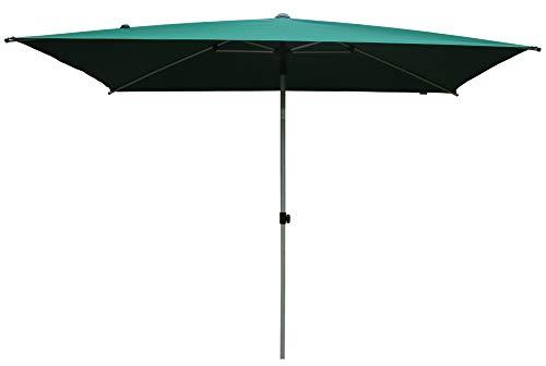 SORARA Sonnenschirm Parasol | Grün | 300 x 200 cm (3 x 2 m) | Rechteckig Porto | Polyester 180 g/m² (UV 50+)| Druckmechanismus (excl. Base)