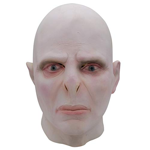 Big Boss Voldemort Maske Kopfbedeckung Halloween Latex Horror Scared Scary Mask,Beige-OneSize ()