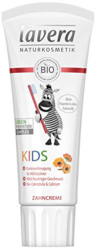 lavera Zahncreme Kids ∙ Ohne Fluoride & ohne Farbstoffe ∙ Bio-Calendula & Calcium ∙ Vegan ✔ Bio Pflanzenwirkstoffe ✔ Naturkosmetik ✔ Kinder Zahnpflege ∙ 75 ml ∙ 1er Pack
