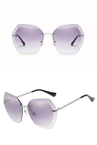 ZJWZ New Ocean Sonnenbrillen Europa und Amerika Trends Gläser schneiden Kante Sonnenbrille ms. Frameless Metal Sonnenbrille,golddoublegray
