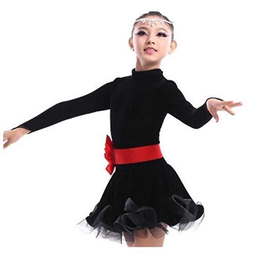 (Tanz Kostüm-Latin Dance Kostüm Mädchen Herbst/Winter Kinder Latin Dance Kostüm Kinder Praxis Kleidung Kostüm 90-160 cm (Farbe : SCHWARZ, größe : 120cm))