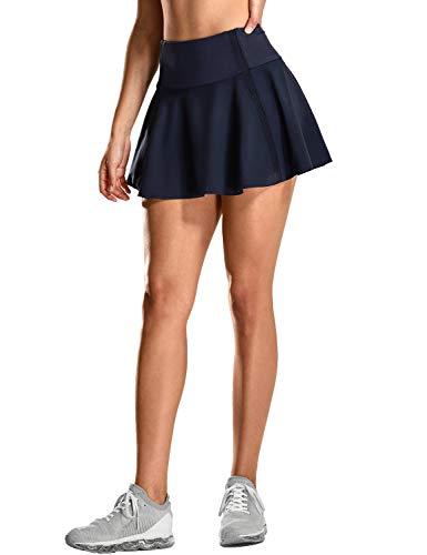 CRZ YOGA Damen Tennisrock Skirt Sportrock Sport Fitness Yoga Short Falten Marine L(42)