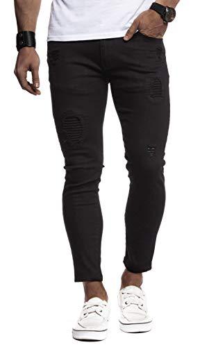 Leif Nelson Herren Jeans-Hose Slim Fit Moderne Denim Freizeithose für Männer Moderne Stretch weiße Jeanshose schwarz LN9100BL; W32L30, Schwarz