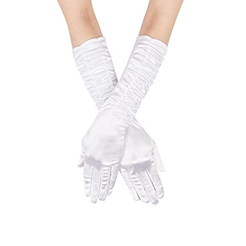 GLV060 Womens Long Classic White Satin Gloves with Pleated Detail