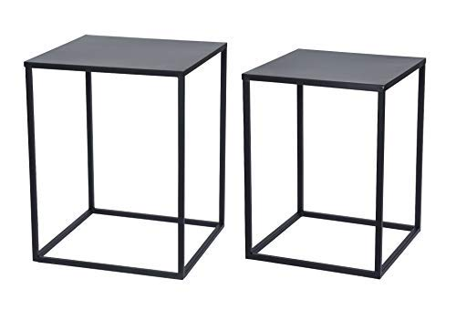 Metall Beistelltisch 2er Set schwarz - Couchtisch Sofatisch Wohnzimmer Tisch (Beistelltische Wohnzimmer Schwarz)
