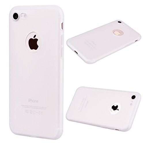 """Coque iPhone 7 (4.7""""), Solaxi Coque TPU Slim Bumper Etui pour Apple iPhone 7 (4.7 pouces) Souple Housse de Protection Flexible Soft Case Cas Couverture Anti Choc Mince Légère Doux Silicone Cover - Noi Blanc transparent"""