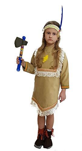 PICCOLI MONELLI Costume Indiana Bambina 2 Anni Vestito di Carnevale Caldo  con Accessori Ascia Giocattolo e f55e8d1294f
