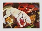 Leinwandbild Franz Marc - Ein Hund, ein Fuchs und eine Katze - 70.0 x 50.0cm - Premiumqualität - , Expressionismus, Katze, Fuchs, Hund, weißer Hund, klassische Moderne, Wohnzimmer, Schla.. - MADE IN GERMANY - ART-GALERIE-SHOPde
