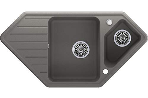Granitspüle mit Siphon Monaco Einbauspüle Eckpüle Grau Küchenspüle Unterschrank Küche ab 80cm Spüle aus Granit mit Ablaufgarnitur Drehexcenter und Überlauf von Primagran
