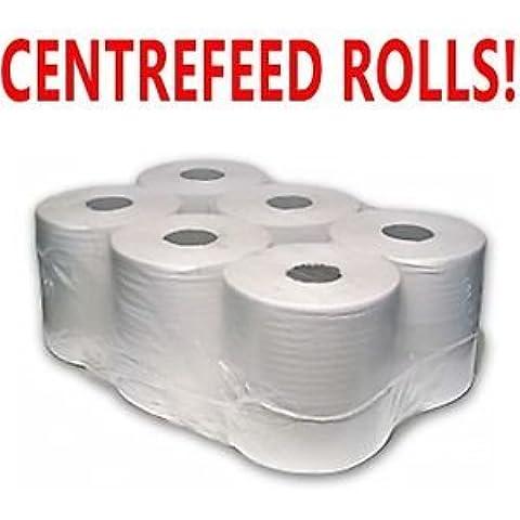 PPD Confezione da 6rotoli di carta a 2Veli bianco in rilievo Centro feed Wipe