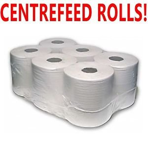 PPD 6 Pack 2 Ply WHITE Embossed Centre Feed Paper Wipe Rolls
