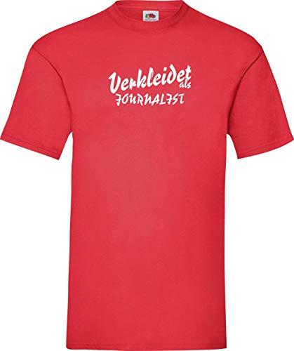 Shirtinstyle T-Shirt Karneval Verkleidet als Journalist Die Beste Verkleidung Farbe rot, Größe XXL