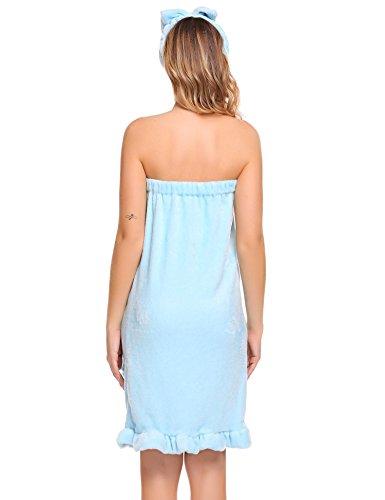 EKOUAER Damen Warmer Bademantel Saunakilt Mikrofaser Coral Fleece Saunamantel mit Haarband in 4 Farben Hellblau