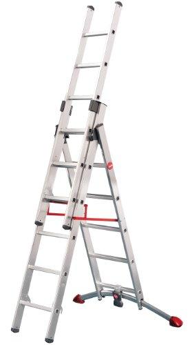 Hailo ProfiLOT, 3-teilige Alu-Kombileiter, 2x6+1x5 Sprossen, LOT-System, Treppenverstellung, Transportsicherung, bis 150 kg, made in Germany, 9306-501