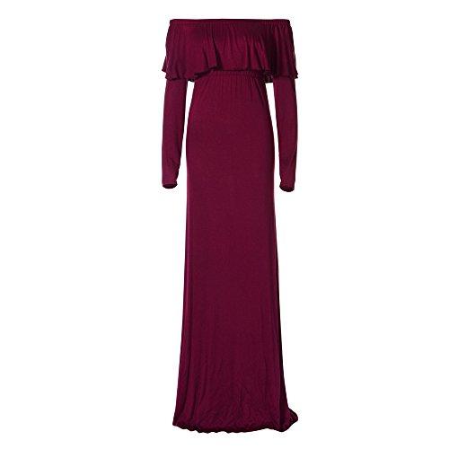 (Kleider Damen Dasongff Schwangerschaft Kleid Frauen Lange Kleider Mutterschaft Fotografie Requisiten Kleidung Schulterfrei Rüschen Strandkleid Abendkleid Umstandskleid (M, Weinrot))