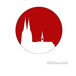 """Design-Magnet 6,3cm (rund)""""Kölner Dom weiss auf rot"""", Kühlschrankmagnet, Geschenk, Kölngeschenk, Cologne, Kunst"""