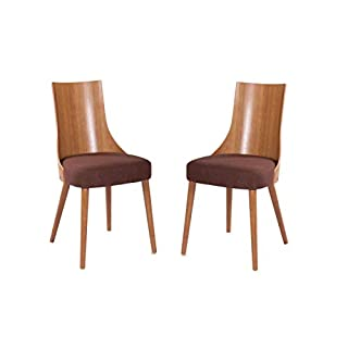 elbmöbel Stuhl Vintage braun Norman massives Buchenholz Retro Design Polsterstuhl (2er Stuhl Set)