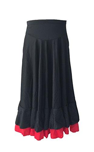 La Señorita Flamenco Rock Kinder Spanische Kleider schwarz rot 2 volants (schwarz rot, Größe 10, 128-134)