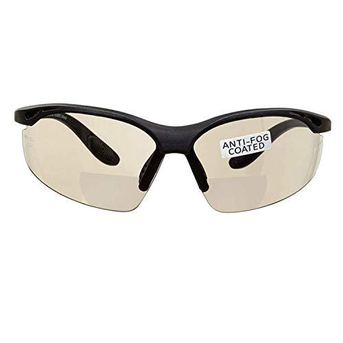 voltX 'Constructor' BIFOKALE Schutzbrille mit Lesehilfe (Verspiegelte +1.5 Dioptrie) CE EN166F Zertifiziert/Sportbrille für Radler enthält Sicherheitsband - Bifocal Safety Glasses