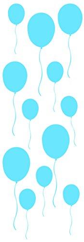 Décoration murale adhésive 24*68 Ballons Bleus, Polyvinyle, Bleu, 24 x 0.1 x 68 cm