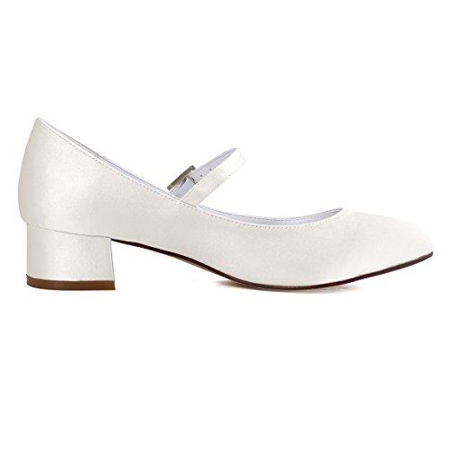 ElegantPark Femmes Fermé Toe Bloc Talon Mary Jane Pompes Satin Chaussures de Mariage Soirée Ivoire