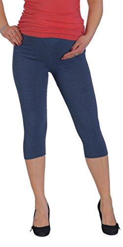 Jandaz® Standard- oder Winter-Leggings für Schwangere, volle Länge, Dreiviertel-Länge oder kurz, 95% Baumwolle, in vielen Farben erhältlich Cropped Denim