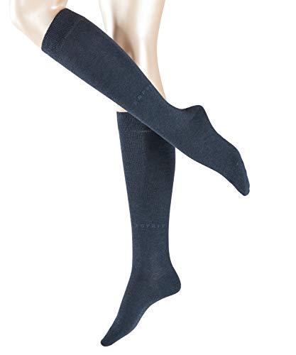 ESPRIT Damen Kniestrümpfe Basic Pure, Baumwollmischung, 1 Paar, Blau (Navy Blue Melange 6490), Größe: 35-38