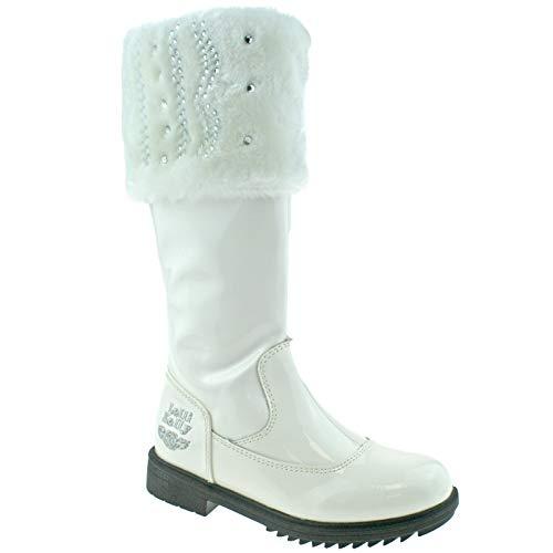 Bild von Lelli Kelly LK3644 (DA01) Valerie High White Patent Faux Fur Topped Boots-32 (UK 13)
