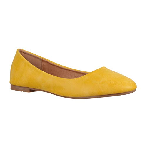 Elara Damen Ballerinas | Bequeme Slip-Ons | Flache Freizeitschuhe | chunkyrayan YL96098 Yellow-39