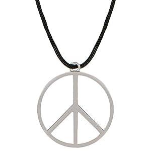 Balinco Peace Zeichen Silber aus Metall mit Stoffband Kette zum umhängen als Halskette