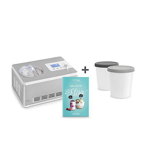 Gelatiera e yogurtiera elisa 2 in 1 con compressore refrigerante e funzione di riscaldamento macchina per gelato & yogurt 2 l in acciaio inox con funzione mantenimento del freddo