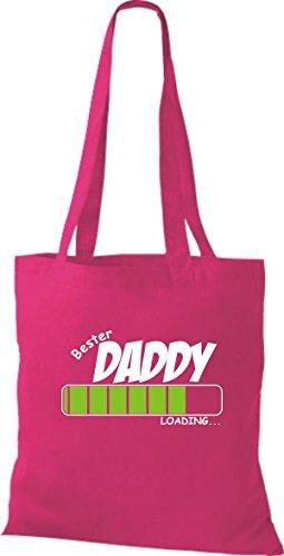 ShirtInStyle Stoffbeutel Baumwolltasche BESTER DADDY Loading Farbe Pink fuchsia