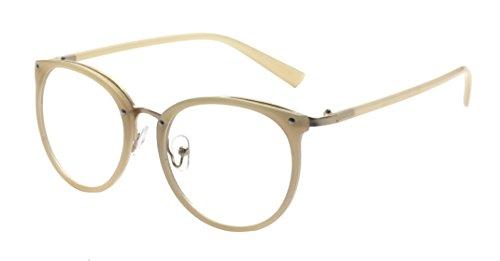 ALWAYSUV Retro Metall Steg Klare Linse Rund Optische Stärke Rahmen Brillenfassung Beige