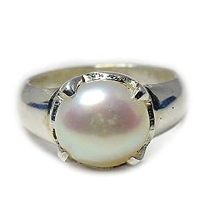 55Karat echtem weiß Perle Silber Ring für Männer Zinken 5Karat Astrologische Juni Geburtsstein Größe UK Z