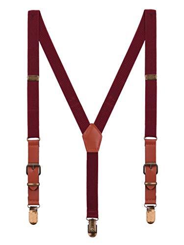 n Mädchen Hosenträger für 1-8 Jahres alt Retro 3 Messingartige Clips Y Form 2cm Hosenträger Elastisch Verstellbar - Bordeaux Rot ()