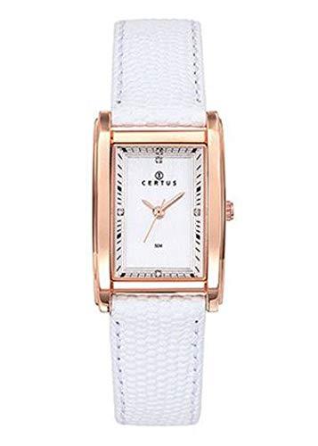 Certus–Reloj Mujer–h646m243–Pulsera Cuero Blanco–Caja Rectangular–Acero Dorado Rosa