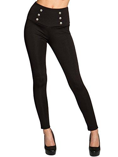 CASPAR HLE024 leicht gefütterte stylische Damen Leggings High Waist mit hohem Bund, Farbe:schwarz;Größe:40 L UK12 US10