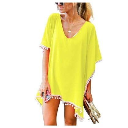 InTrend Forever Pom Pom Trim Women's Georgette Kaftan Top (Yellow, Free Size)