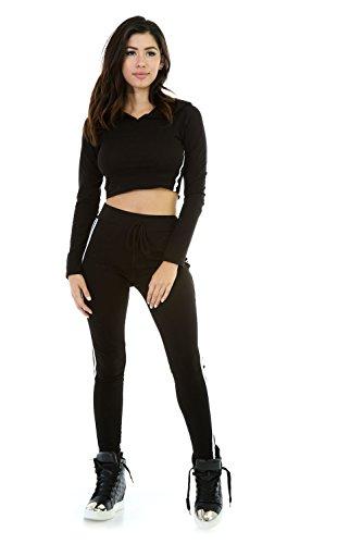 JOTHIN 2017 Femmes Nouvelle Deux Pièces Forfait Sport Sexy Slim (Chemise+Pantalon) épissure Manche Longue Couleur Unie Pantalons Crayon Taille Haute Forfait Sport(S-XL) Noir