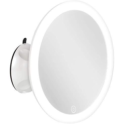 Smartwares Schminkspiegel/Rasierspiegel Mit Led-Beleuchtung (Touchfunktion Zum Dimmen) Und Saugnapf, 5-Fach Vergrößerung, Weiß, Iwl-60010 Weiß