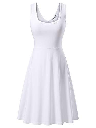MSBASIC àrmelloses, ärmelloses Kleid mit Rundhalsausschnitt für den Sommer 18023-3, Weiß, L -